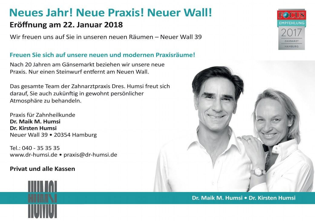 Zahnarzt Humsi - Neue Praxisräume: Neuer Wall 39 in Hamburg